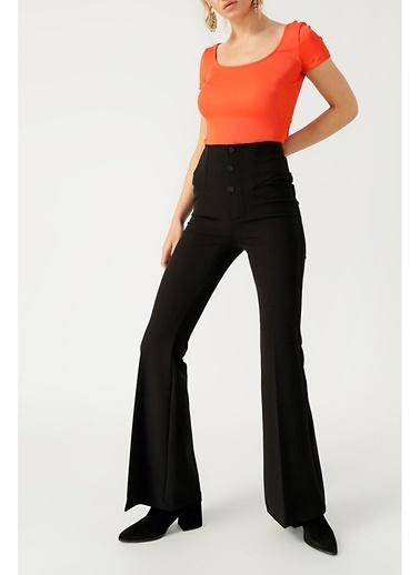 Random Kadın Yuvarlak Yakalı Basic Bluz Oranj